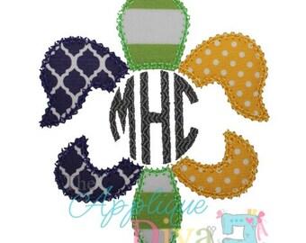 Mardi Gras Monogram Fluer de lis  Embroidery Design Machine Applique