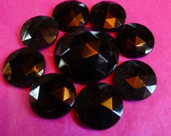 9 old french jet cabochons