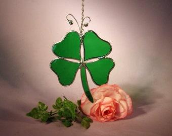 Stained Glass Suncatcher Lucky Four Leaf Clover  (530)
