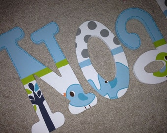 Trunks of Love - elephants - birds - custom - hand painted - wooden wall letters