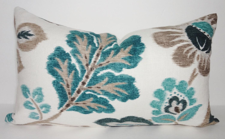 Decorative Lumbar Pillow Cover Teal Tan Flower Throw Pillow