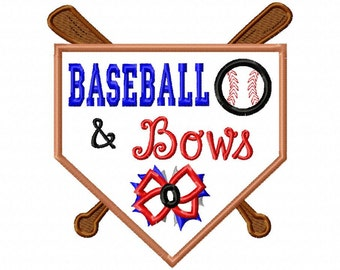 Baseball and Bows - Applique - Machine Embroidery Design - 6 sizes