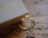 Ring heart 18k gold plated