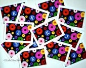 Monogram Zinnia Note Cards (reserved for Nancy only please!)-  'K' and 'J' - Set of 12 total