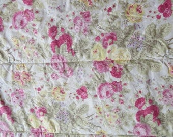 WHITESALE - Tommy Hilfiger Twin Single Comforter - Freeman Farm Pink Yellow Floral Roses Reversible Plaid - Shabby Country Cottage Bedding