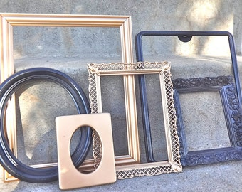 Glossy Black and Metallic Gold 6 Piece Ornate Picture Frame Set Gallery Wall Wedding Prop