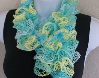 Easter Ruffle scarf hand knit blue green yellow colors with shiny silver +60 inches long