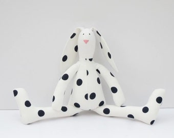 Stuffed bunny rabbit hare toy white black polka dots plush Easter bunny doll softie toy baby shower nursery decor Easter gift