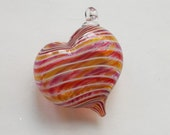 Pink Yellow Stripe Heart Ornament : DISASTER RELIEF