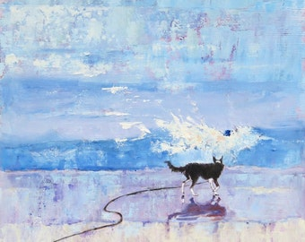"""Border Collie Dog Art Print. """"Grace Encounters a Wave """".  Open Edition Print of Original Impressionist Painting. 8"""" x 8"""""""