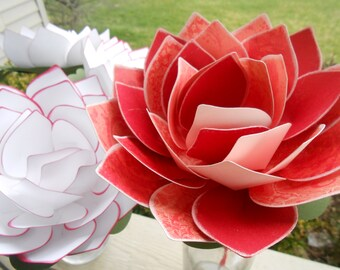 Custom Paper Flower LOTUS Wedding Bouquets. Bridal, Bridesmaids, Cake Toppers, Boutonniers, Corsages.