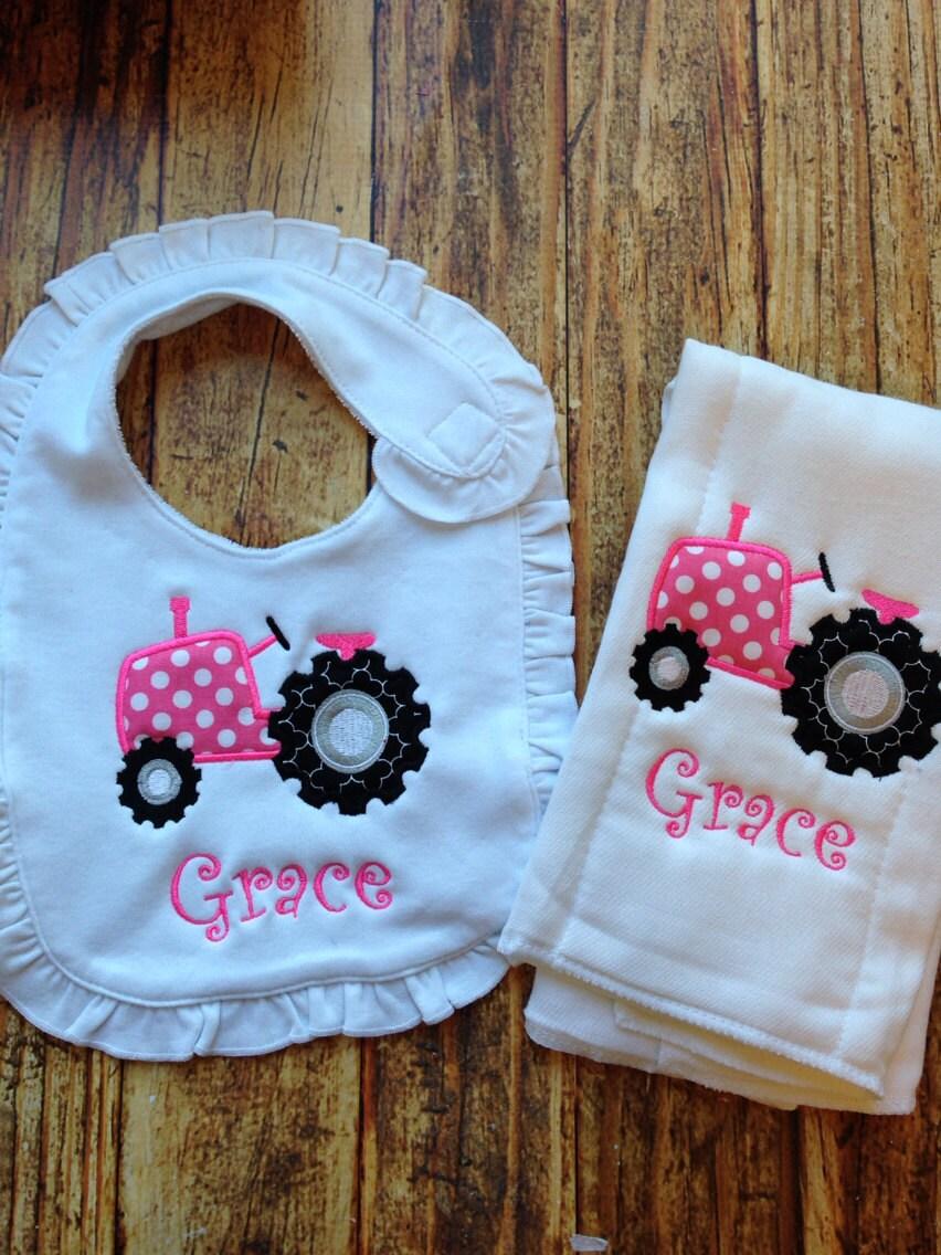 Bib and Burp Cloth Diaper Cloths Baby Girl by Rubyandoliver