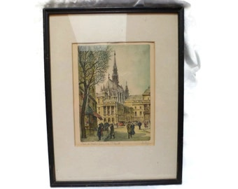 French Etching , Artist Barday , Paris Palace of Justice , Signed Color ,  Framed