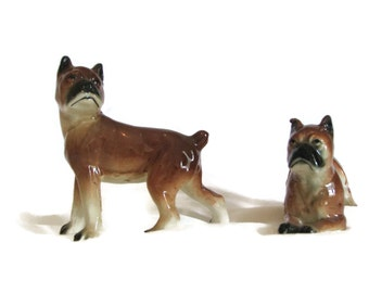 Vintage Boxer Dogs , Figurine , Pair Of Pups ,1940