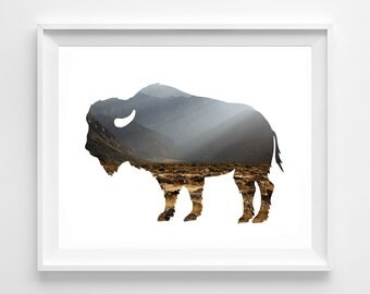 """Buffalo Photography / modern minimal rustic silhouette frontier americana unframed art print photograph / mountains brown / """"American Bison"""""""