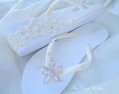 Ivory Wedges flip flops. Bridal lace heel sandals.  Australian Starfish Crystal / SWAROVSKI -StarFish N Lace heel Collection-01