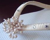 Beige Flip Flops. Beige/champagne Pearls flip flops accented with Swarovski Crystals -PEARLS Spray Collection-