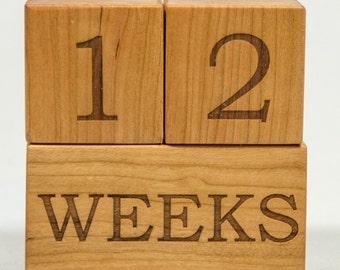 Baby Age Blocks, Milestone Blocks Set, Wooden Baby Block, Pregnancy Blocks, Baby Shower Gift