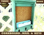 "Three Hook Message Board Mail Holder Shelf..""Jade over Black ""..or You Choose Color"