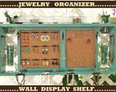 "Jewelry Organizer Wall Display Shelf Message Board..""JADE over BLACK""or You Choose Color ."