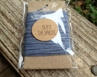 10 Yards - Solid  Baker's  Twine / String • 100% Cotton • Eco Friendly • Gift Wrap • Bakery String • Slate