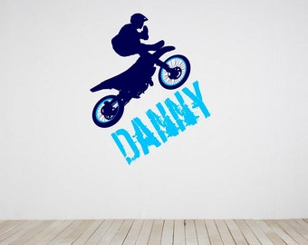 """Dirt Bike Wall Decal with Personalized Name 34"""" Tall x 27"""" Wide"""