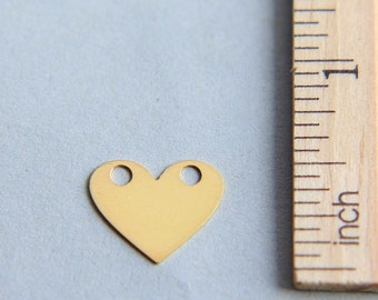 Heart Charm, Heart Disc Charm, Gold plated heart, Love Charm, Heart Tag For Engraving, 24K Gold plated sterling silver charm,15mm (1 piece )