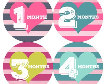 FREE GIFT, Baby Month Stickers Hearts Girl, Hearts Monthly Baby Stickers, Hearts Month Stickers Baby Girl, Hearts, Stripes, Pink, Teal