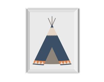 Teepee, Tribal Nursery Art Boy, Tribal Children's Room Art, Tee pee, Tribal, Tribal Decor, Nursery Art, Navy, Orange, Tribal, Boy