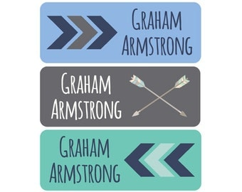 Name Labels, Boy, Waterproof, Dishwasher Safe, Clothing Tags, Daycare Labels, School Labels, Tribal, Chevron, Arrow, Navy Blue, Mint, Gray