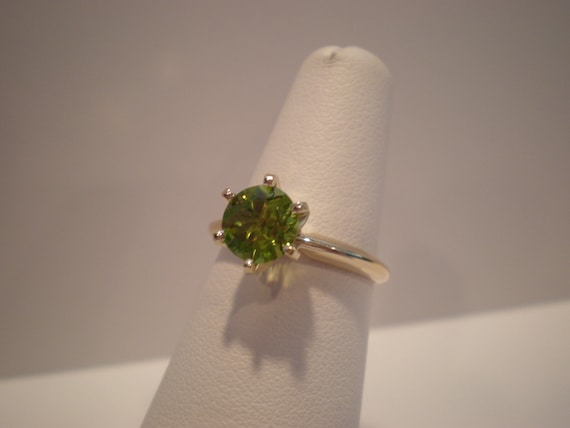 SALE - Gorgeous sparkling 7mm round Peridot gemstone ring set in solid 14k yellow gold solitaire green