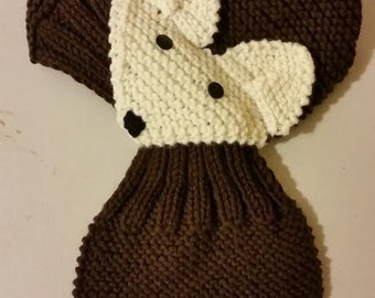 Adjustable Hand Knit FOX Scarf / neck warmer for Kids or Audlt (Daek Brown/Cream)