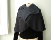 Hooded winter, spring and autumn reversible wool cape.