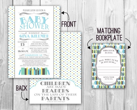 book themed baby shower invitation and bookplate mint and blue