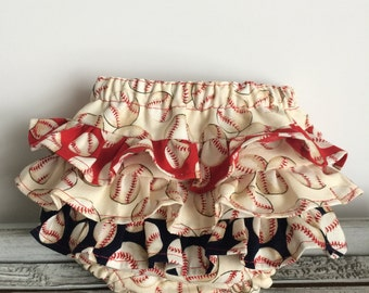 Baseball Ruffle Bloomer Diaper Cover Baby and Toddler Girl - YOU CHOOSE SIZE