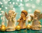 Angel band, Christmas photograph, holiday photograph, turquoise and gold christmas, nursery angels, 3 angels