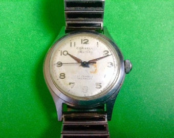 CORNELL men's watch Beautiful mens 1960s  classic vintage watch dress wrist watch vintage band
