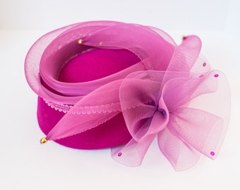 Magnificent Fuchsia Fascinator Costume Formal Hat by Yehasso Women's Dress Felt with Bow Made in USA