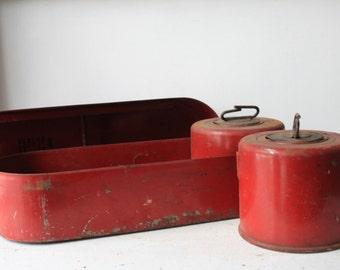 Vintage Red Metal Flare Box