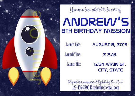Space theme invitation outer space party printables rocket for Space themed stationery
