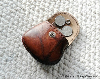 100% hand stitched handmade brown marbled pattern cowhide leather Ipod, ear buds, coin, trinket, jewelry,case / pouch