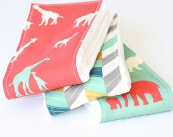 Baby Burp Cloths - Set of 3 - Serengeti from Birch 100% Organic Fabric- Giraffe Fam Coral, Off Set Multi, and The Herd Pool