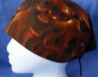 SALE... Brown Flaming Skulls Surgical Cap (biker/chemo/surgical)