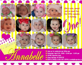 Cupcake First Birthday Invitations 12 Photos Hot Pink Dots Yellow Stripes Customizable Printable 5x7 or 4x6