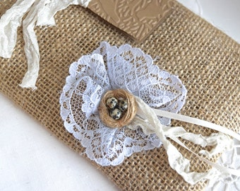 SALE - Rustic Burlap Gift Bag With Rosette And Nest - Wedding Favor Gift - Any Occasion - 1 Bag (GB03)