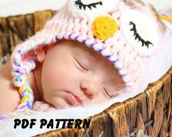 Crochet Owl Hat Pattern, file available for instant download. Options for awake or sleepy eyes and size newborn through adult