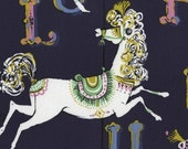 Dear Stella Fabric - Navy Carousel - STELLA-154 INDIGO , horses, alphabet letters