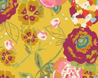 Lillybelle Bari J - Art Gallery fabric ,  floral, flowers, pink, fuschia, mustard, gold - Lilly Belle