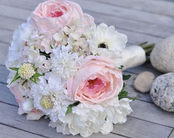 Blushing Bride Bouquet made with silk Pink Cabbage Roses, Peach Roses, Ivory Anemones, White Scabiosa in Holly's Flower Shoppe.