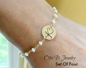 Personalized bridesmaid Gifts set of  FOUR: Initial bracelets,Freshwater pearl bracelets, Wedding jewelry gift sets, otis b jewelry